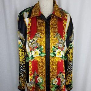 Vtg Animal Zebra Tribal Print Tunic Blouse Top 80s